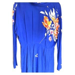 Free People Open back Blue Floral Blouse